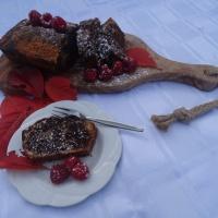 Cake met cacao en frambozen